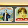 Amazing Set of 4 Antique Cigar Labels in Frame.  A perfect gift for the cigar enthusiast.  This remarkable wall hanging features antique 1900's cigar labels from Dick Custer, Union Sport, Snap Shot and James Lewis.  Excellent condition.  21 1/2 x 6 1/2.  <b>$50</b>