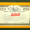 Framed 1969 Peel-Elder Limited $100 Stock Certificate.  13 x 9.  <b>$25</b>