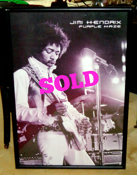 <i>Jimi Hendrix ~ Purple Haze </i>Framed Collectible Poster by Chuck Boyd in Excellent Condition.  36 x 37 1/2.  <b>$40</b>