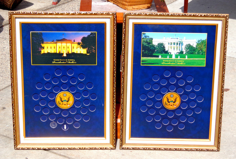 Choice of 2 Presidential Dollars World Reserve Monetary Exchange Gold Frame Display - Rare.    18 3/4 x 26.  <b>$30 each</b>