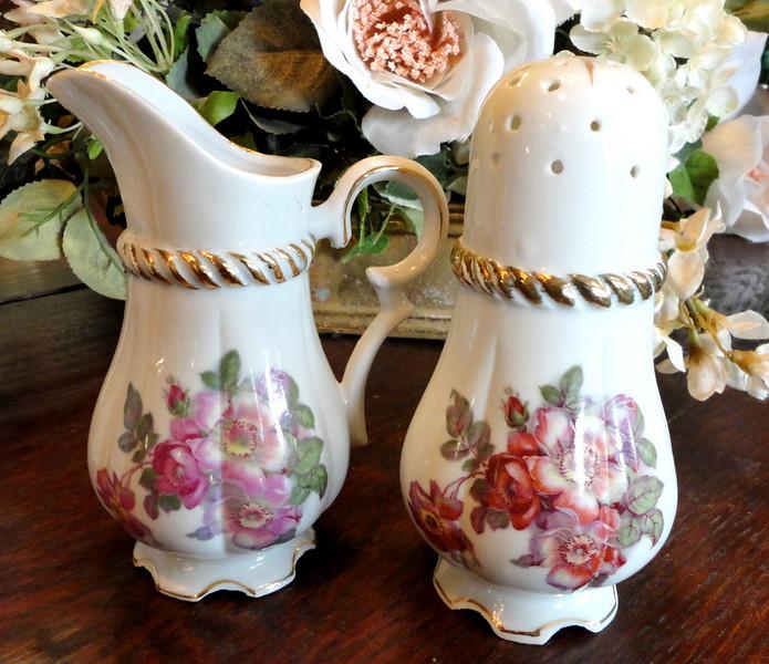 Ornate Porcelain Creamer & Salt Shaker.  Can be purchased separately.  <b>$5 each</b>