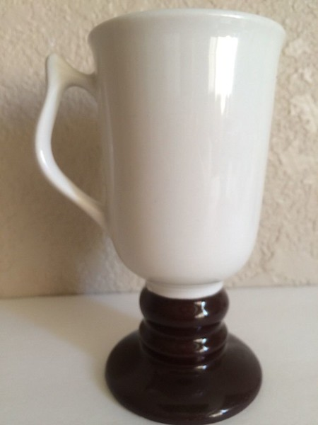 RARE!! Hall Irish Coffee Mug Cup 1273 Footed Pedestal Black White Mid Century Modern.  6 1/2 inches tall.   <b>$20</b>