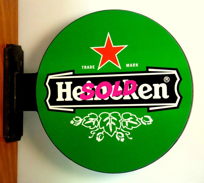 Hard-to-Find Heineken Double Sided Wall Mount Sign.  19 x 3 x 16.  <b>$50</b>