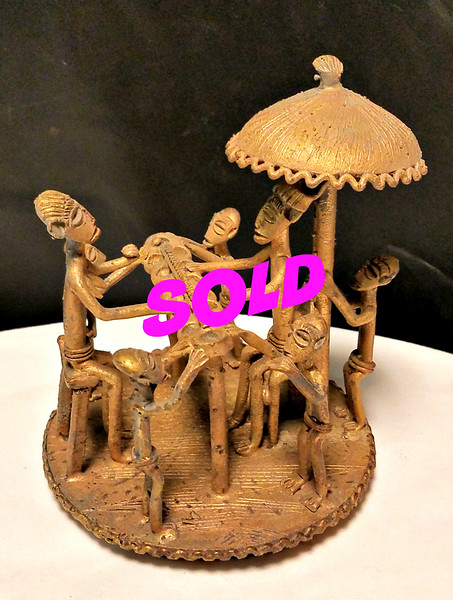Authentic Cast Iron African Tribal Family