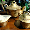 Gold Accented Teapot with Creamer & Sugar Bowl.