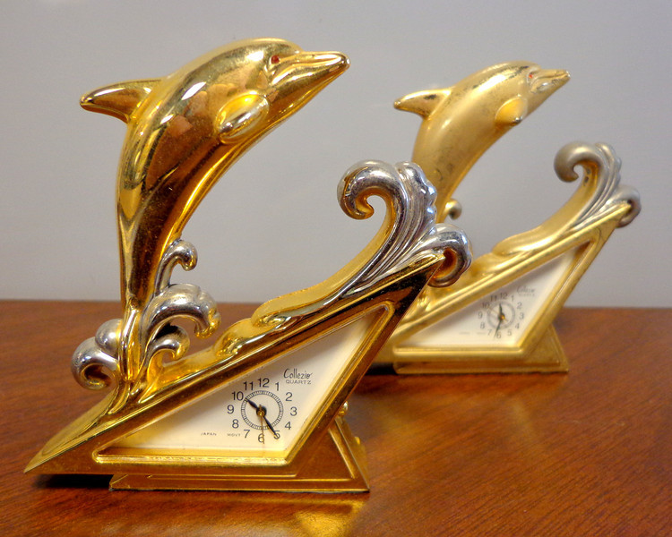 Hard-to-Find Collezie Dolphin on the Waves Mini Clock.  3 1/2 inches tall.  <b>$20 each</b>