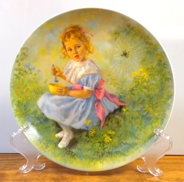 """Reco Little Miss Muffet Collector Plate 1981 Collector's Plate.  Plate # 4698 H.  An authentic original in the limited edition of Plate 3, (ended forever in 1981), in the Mother Goose series. This adorable plate is 8 1/2"""".  Plate only.  <b>$20</b>"""