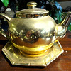 Gold Accent Teapot with Serving Dish.  10 x 6.