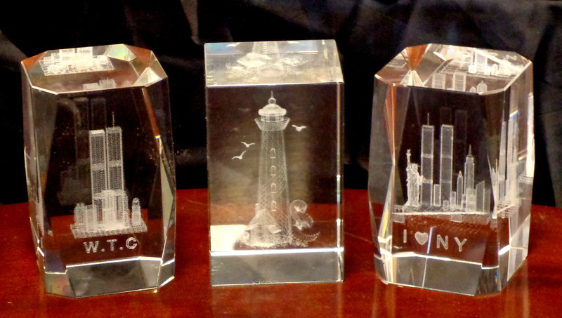 Set of 3 Crystal Glass Paperweights.  World Trade Center, Lighthouse and I Love New York.  2 x 2 x 3.  <b>$10 each or $25 for the set.</b>