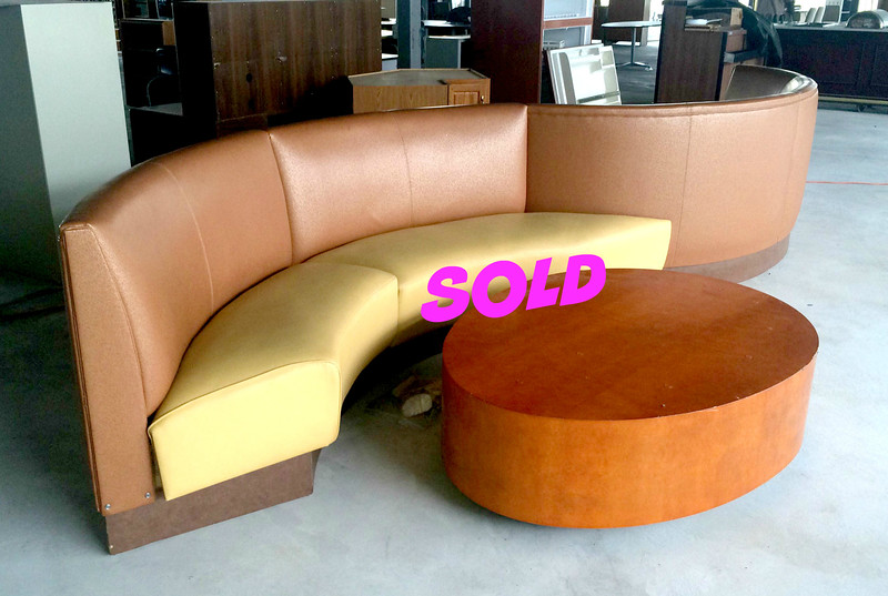 Unique Contemporary-Style Double Sided Lobby Couch with 2 Coffee Tables. Make a statement of fun and contemporary style with this unique double-sided sofa.  perfect for a large retail lobby or your basement's man-cave, this sofa set will become the centerpiece of fun.  The sofa is in very good condition.  If you have the space, then don't miss out on your chance to own this remarkable set.    Sofa: 224 x 33 x 38.  Coffee Tables: 57 x 43 x 17.  <b>$595</b>