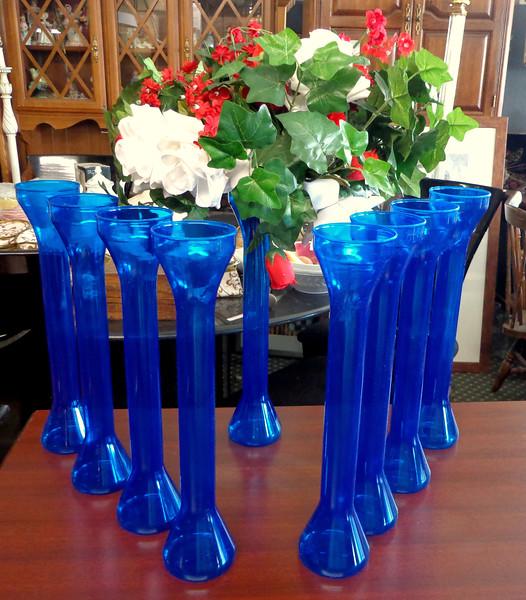 Blue Plastic Vases