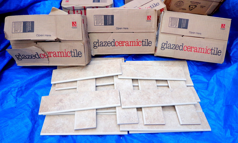 Selection of 12 x 3 Ceramic Trim Tiles  ~ 22 Pieces to a Box.  We have approximately 25 boxes in inventory as of 8/21/12. <b>Make a Fair Offer.</b>
