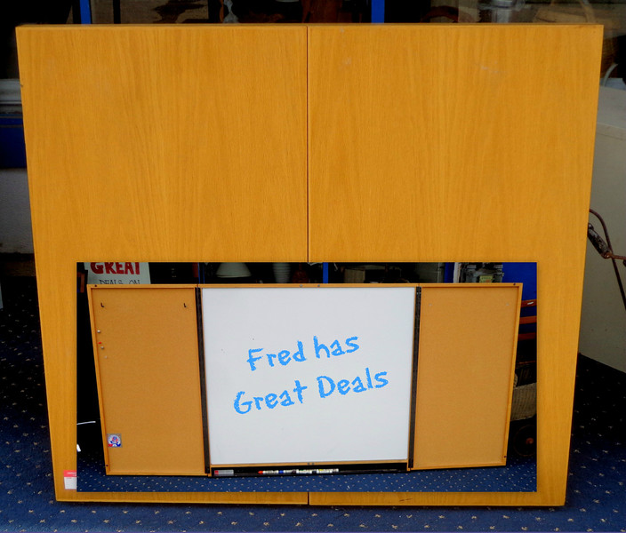 Large Wood Conference Room Cabinet, Dry Erase Board / Cork Board / Pin Board - Medium oak white board.  48 x 44 (in closed position).  96 x 44 (in fully open position).  Excellent condition.  <b>$195</b>