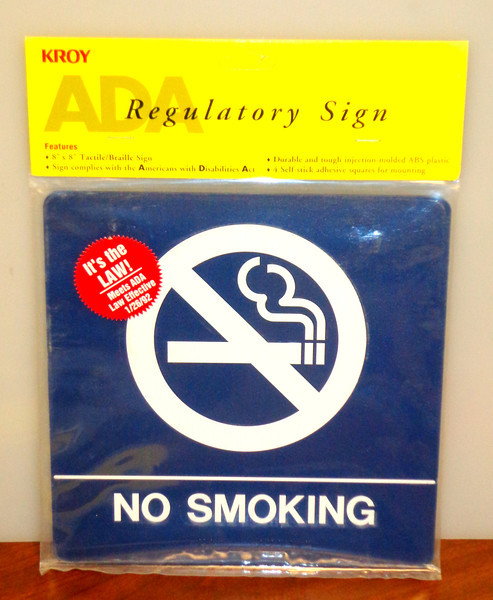 "Kroy Brand 8 x 8 Blue <i>No Smoking</i> Signs. * New in original packaging  * ADA Approved Regulatory Sign * Durable and tough injection-molded ABS plastic * 8"" x 8"" Tactile/Braille Sign * 4 Self-stick adhesive squares for mounting.   <i>Price Anywhere Else New: $16.  </i> <b>Fred's Price New: $8</b>"