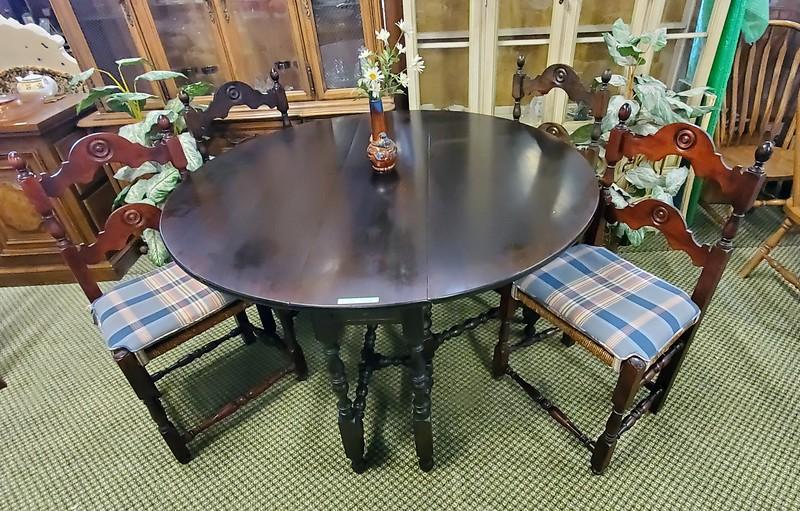 Antique Drop Leaf Dining Table Set