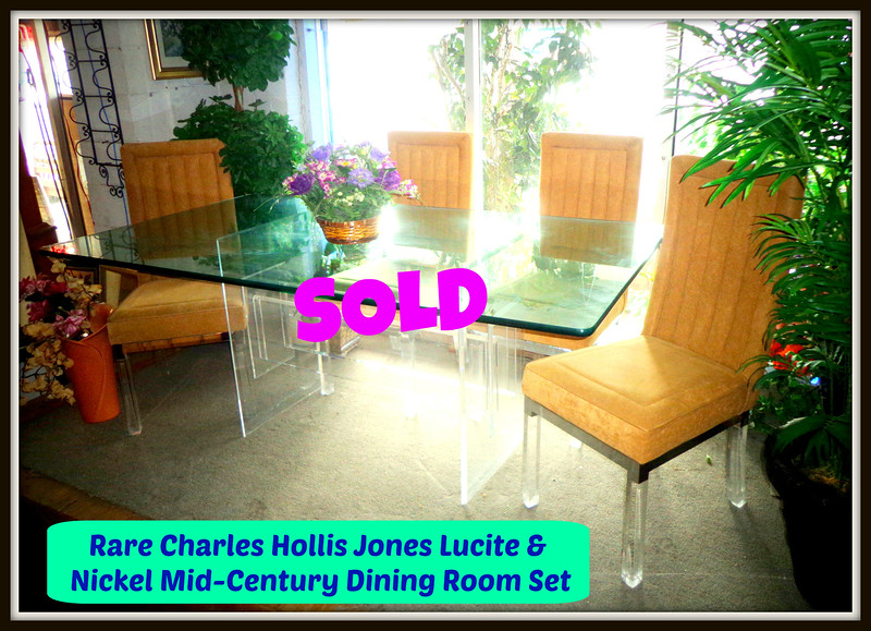 Rare <i>Charles Hollis Jones</i> Lucite & Nickel Mid-Century Dining Room Set.  This stunning all lucite dining room table is complimented by the beautiful set of six dining chairs in Lucite and nickel with high backs designed and manufactured by Charles Hollis Jones.  The chairs are upholstered in a taupe microfiber fabric also in excellent original condition. This set dates back to the 1960's.  We placed this remarkable furniture in one of our window showrooms before we could get a photo that does justice.  If you are a buyer that demands the most exclusive furniture pieces, then you simply must see it to fully appreciate.  Table: 72 x 39 1/2 x 30.  Chairs: 19 x 21 x 41.  <i>Extremely Rare Charles Hollis Jones sets like this routinely sell  for $14,000 or more if you can find one. </i><b>Fred's Price: $4,500</b>