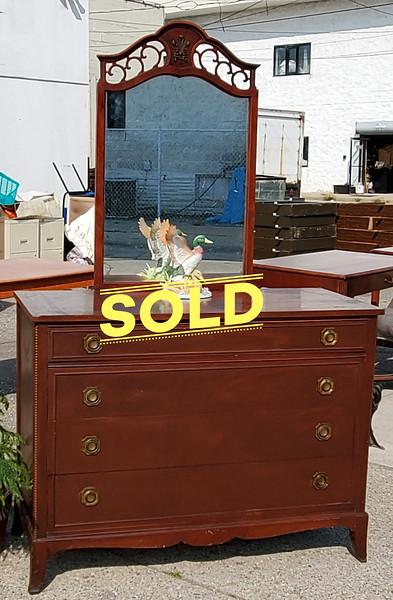1930's Mahogany Mirrored Dresser.