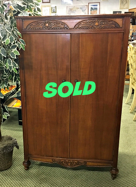 <b>Available at our Livernois Store Location - (313) 345-0884. </b>  Vintage Wardrobe Armoire in Excellent Condition.  Drawers on one side and hanging coat rack on the other side.