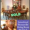 <b>Available at our Livernois Store Location - (313) 345-0884. </b>    Premium Quality Queen Anne <i>Thomasville</i> Complete Dining Room Set for 8 in Excellent Condition.  The dining room you've always wanted can now be yours.  This beautiful set  is in excellent condition and features seating for 8.  This set is quality-constructed in the Queen Anne style.  The beautiful illuminated china cabinet will display your fine china and mementos in the elegant tradition they deserve.  Premium sets like this are difficult to find, so don't miss out.  <b>$1,295</b>