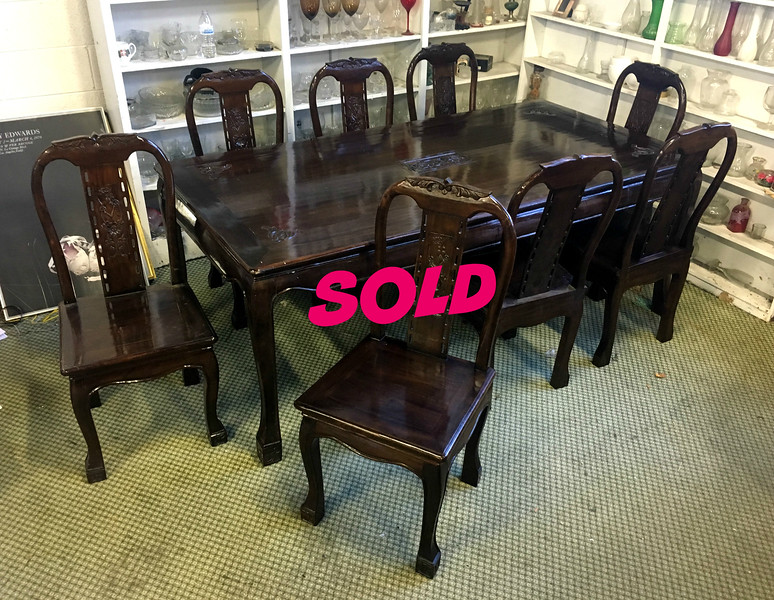 Chinese Rosewood Dining Room Table Set