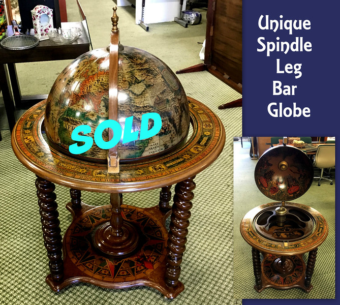 <b>Available at our Livernois Store Location - (313) 345-0884. </b>  Unique Spindle Leg Bar Globe.