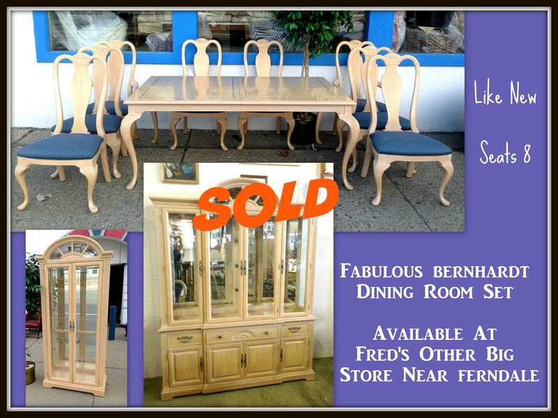 <b>Available at our Livernois Store Location - (313) 345-0884. </b>   Fabulous Ultra-Premium Bernhardt Complete Dining Room Set for 8 in Like New Condition.  This is the dining room set that you've been waiting for.  Terrific condition and seating for 8, but most of all this set has a beautiful style that will instantly transform the look of your fine dining area.  The quality and attention to detail in every piece of this remarkable set will be difficult to equal.  Queen Anne Style. Two 18-Inch Table Leaves (not shown).  Table: 72 x 45 x 30.  Chairs:  23 x 19 x 43.  China Cabinet:  72 x 18 x 91.  Curio: 36 x 18 x 85.  <i>Over $12,000 new.  </i>  <b>Fred's Price: $2,495</b>