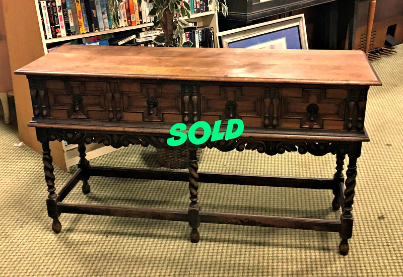 <b>Available at our Livernois Store Location - (313) 345-0884. </b>  Distinctive Vintage Solid Wood Spindle Leg Server Buffet.  <b></b>