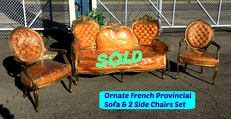<b>Available at our Livernois Store Location - (313) 345-0884. </b> Ornate French Provincial Sofa with 2 Matching Side Chairs. Burnt antique orange and gold fabric.