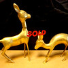 Vintage Brass Deer Figurines - A Pair.  <b>$40 for the set.</b>
