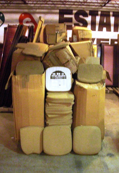 Big Shipment of Pre-Owned Upholstered Seat Cushions In 2 Sizes.  Great selection of seat cushions in 17 x 16 and 16 x 13 sizes. For a few bucks, you can come in and take your pick of as many as you need. <b>$3</b>