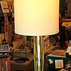Contemporary Lime Glass Table Lamp with Convenient Accessory Electrical Outlets.  11 x 27.  <b>$30</b>