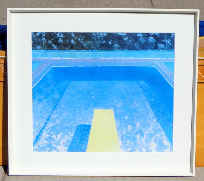 Swimming Pool Diving Board Framed Art.  37 x 2 x 33 1/2.  <b>$30</b>