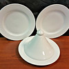 Large Collection of Premium <i>Sant' Andrea' Royal Porcelain </i> Dinner Plates with Porcelain Food Warmer Cover.  12 x 8.  <b></b>