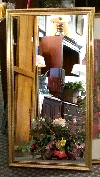 Nice Selection of Elegant Framed Wall Mirrors in Very Good Condition.  We have a few of these in stock at the moment.  23 x 44.  <b>$30</b>
