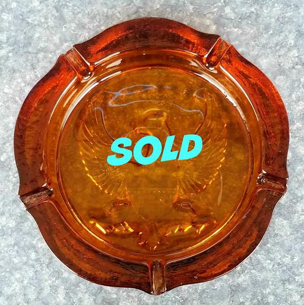Amber Glass Ash Tray