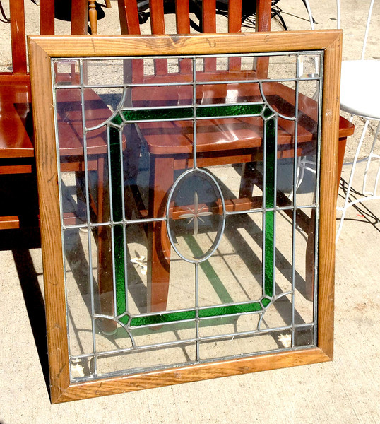 Elegant Stained Glass Window in Excellent Condition.  24 1/2 x 28 1/2.   <b>$85</b>