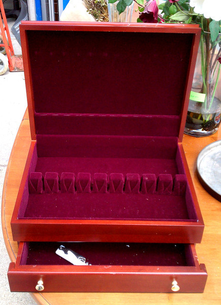 Solid Wood Felt-Lined Flatware Box with Drawer.  15 x 11 x 6 (closed position).  <b>$35</b>