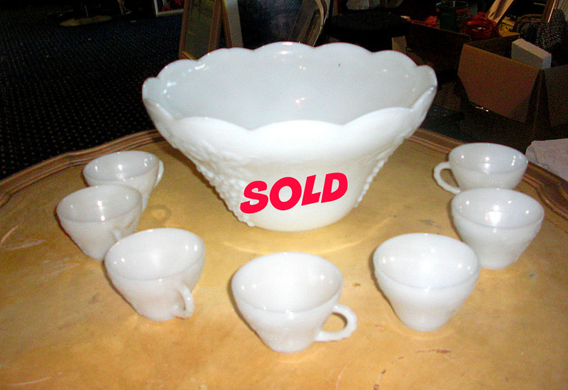 Milk Glass Punch Bowl with 7 Cups.  <b>$35</b>