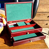 Beautiful Mahogany Lift-Top Jewelry Box with One Drawer. Nice turquoise felt-lined box. Wonderful gift for a man or woman. <b>$30 </b>
