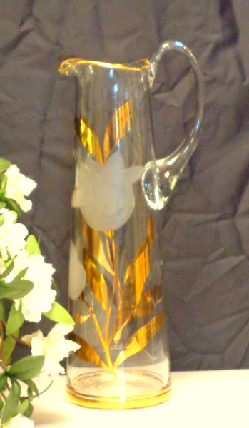 Elegant Gold & Frosted Glass Pitcher.  4 x 13 1/2.  <b>$35</b>