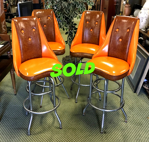 <b>Available at our Livernois Store Location - (313) 345-0884. </b>Fantastic Set of 4 Hard-to-Find Retro Hi-Back Bar Stools in Exceptional Condition. These are truly amazing and are certain to become a focal point in even the finest home. Just try finding a show-stopping collectible set like these in such excellent condition anywhere else.  <b>$550</b>