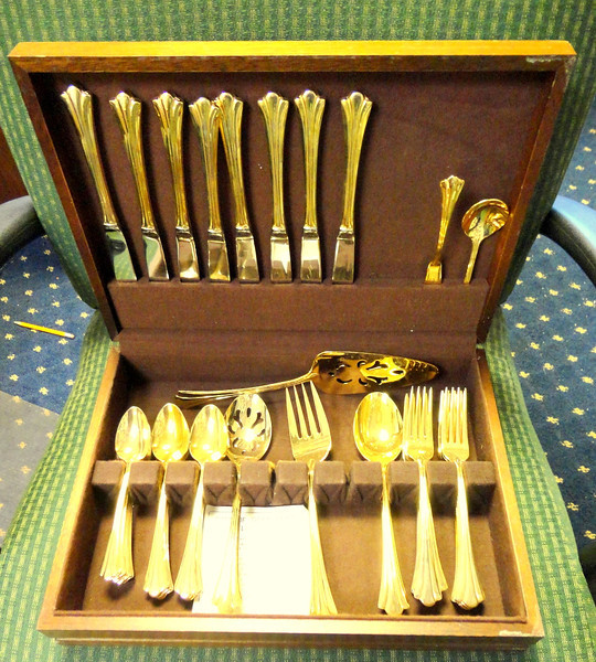 1847 Rogers Brothers Gold Plated Flatware in Felt-Lined Case.  <b>$150</b>