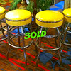Rare!!!  Set of 4 Bold Yellow Retro Metal-Framed Bar Stools in Excellent Condition.  Extra nice.  Add a festive tone to your entertaining area when these unique bar stools grace your home.  The bold yellow bar seats captivate your imagination and this remarkable set is sure to become a focal point for fun.   16 x 16 x 30.  <b>$575 for the set.</b>