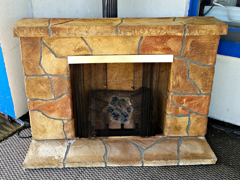 Faux-Stone Electric Fireplace