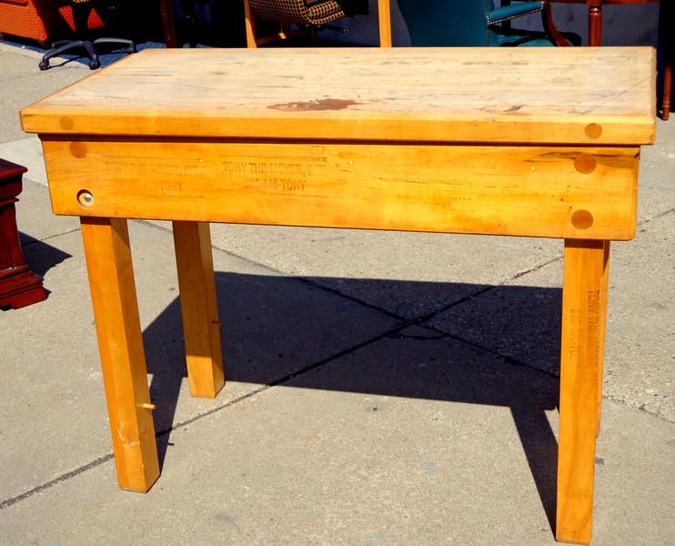 Solid Wood Butcher Block Table.   49 x 24 x 36.  <b>$125</b>