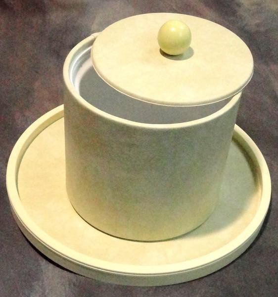Ice Bucket & Matching Tray.  Ice bucket: 9 x 9.  Tray:  14 inches diameter.