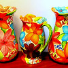 Retro 3-Piece Colorful Hand-Painted Floral Vase and Pitcher Set.  Vases: 7 x 12.  Pitcher: 8 x 6 x 10.  <b>$125</b>