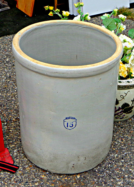 Vintage Number 15 Stoneware Pickling Crock.   <b></b>