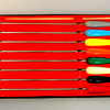 "Vintage 60's Colorful Handle Fondue Forks ~ Set of 8.  A complete set of 8 colorful handle fondue forks. Each tapered handle is made of hard plastic. Stainless steel tips. Made in Japan. Excellent, gently used condition. Original box.  Each fork 10.5""L.  <b>$20</b>"