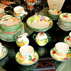 Attractive Set of Colorful Cups, Daucers, Plates & Creamers Made in England.  <b>Make A Fair Offer.</b>